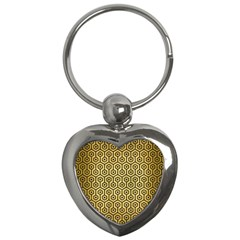 Hexagon1 Black Marble & Gold Brushed Metal (r) Key Chain (heart) by trendistuff