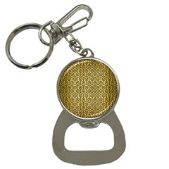 Hexagon1 Black Marble & Gold Brushed Metal (r) Bottle Opener Key Chain by trendistuff