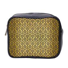 Hexagon1 Black Marble & Gold Brushed Metal (r) Mini Toiletries Bag (two Sides) by trendistuff