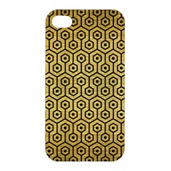 Hexagon1 Black Marble & Gold Brushed Metal (r) Apple Iphone 4/4s Premium Hardshell Case by trendistuff