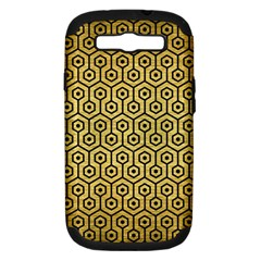 Hexagon1 Black Marble & Gold Brushed Metal (r) Samsung Galaxy S Iii Hardshell Case (pc+silicone) by trendistuff