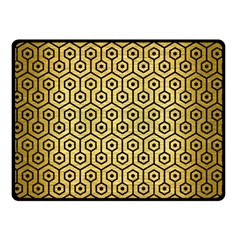 Hexagon1 Black Marble & Gold Brushed Metal (r) Double Sided Fleece Blanket (small)