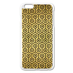 Hexagon1 Black Marble & Gold Brushed Metal (r) Apple Iphone 6 Plus/6s Plus Enamel White Case by trendistuff