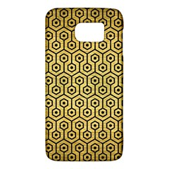 Hexagon1 Black Marble & Gold Brushed Metal (r) Samsung Galaxy S6 Hardshell Case