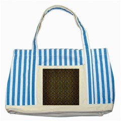 Hexagon1 Black Marble & Gold Brushed Metal Striped Blue Tote Bag by trendistuff