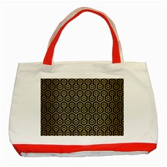 Hexagon1 Black Marble & Gold Brushed Metal Classic Tote Bag (red) by trendistuff