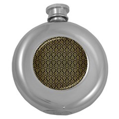 Hexagon1 Black Marble & Gold Brushed Metal Hip Flask (5 Oz) by trendistuff