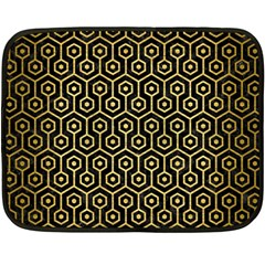 Hexagon1 Black Marble & Gold Brushed Metal Fleece Blanket (mini) by trendistuff