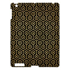 Hexagon1 Black Marble & Gold Brushed Metal Apple Ipad 3/4 Hardshell Case by trendistuff