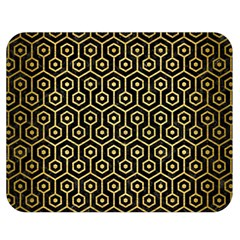Hexagon1 Black Marble & Gold Brushed Metal Double Sided Flano Blanket (medium) by trendistuff