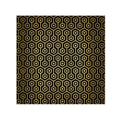 Hexagon1 Black Marble & Gold Brushed Metal Small Satin Scarf (square)