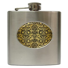 Damask2 Black Marble & Gold Brushed Metal (r) Hip Flask (6 Oz) by trendistuff