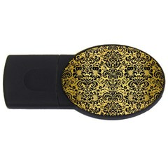 Damask2 Black Marble & Gold Brushed Metal (r) Usb Flash Drive Oval (4 Gb)