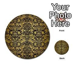 Damask2 Black Marble & Gold Brushed Metal (r) Multi Purpose Cards (round) by trendistuff