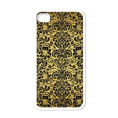 Damask2 Black Marble & Gold Brushed Metal (r) Apple Iphone 4 Case (white) by trendistuff