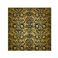 Damask2 Black Marble & Gold Brushed Metal (r) Small Satin Scarf (square) by trendistuff
