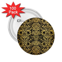 Damask2 Black Marble & Gold Brushed Metal 2 25  Button (100 Pack) by trendistuff