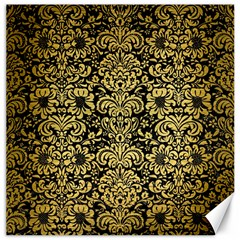 Damask2 Black Marble & Gold Brushed Metal Canvas 12  X 12  by trendistuff