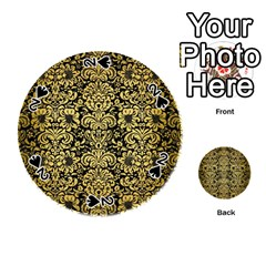 Damask2 Black Marble & Gold Brushed Metal Playing Cards 54 (round) by trendistuff