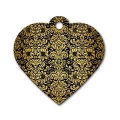 Damask2 Black Marble & Gold Brushed Metal Dog Tag Heart (two Sides) by trendistuff