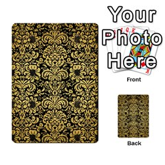 Damask2 Black Marble & Gold Brushed Metal Multi Purpose Cards (rectangle) by trendistuff