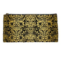 Damask2 Black Marble & Gold Brushed Metal Pencil Case by trendistuff