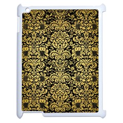 Damask2 Black Marble & Gold Brushed Metal Apple Ipad 2 Case (white) by trendistuff