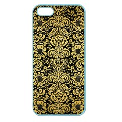 Damask2 Black Marble & Gold Brushed Metal Apple Seamless Iphone 5 Case (color) by trendistuff