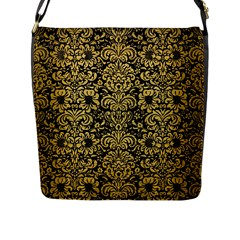 Damask2 Black Marble & Gold Brushed Metal Flap Closure Messenger Bag (l) by trendistuff