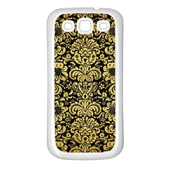 Damask2 Black Marble & Gold Brushed Metal Samsung Galaxy S3 Back Case (white) by trendistuff