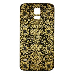 Damask2 Black Marble & Gold Brushed Metal Samsung Galaxy S5 Back Case (white) by trendistuff