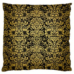 Damask2 Black Marble & Gold Brushed Metal Large Flano Cushion Case (one Side) by trendistuff
