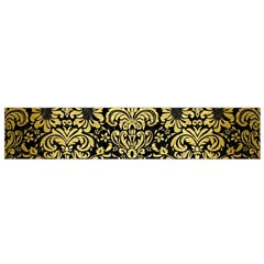 Damask2 Black Marble & Gold Brushed Metal Flano Scarf (small) by trendistuff