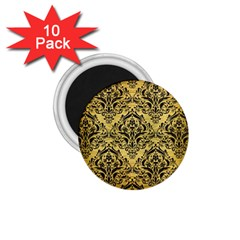 Damask1 Black Marble & Gold Brushed Metal (r) 1 75  Magnet (10 Pack)  by trendistuff