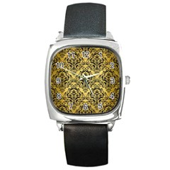 Damask1 Black Marble & Gold Brushed Metal (r) Square Metal Watch by trendistuff