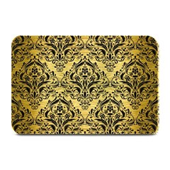 Damask1 Black Marble & Gold Brushed Metal (r) Plate Mat by trendistuff