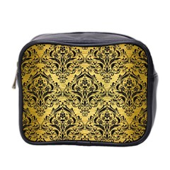Damask1 Black Marble & Gold Brushed Metal (r) Mini Toiletries Bag (two Sides) by trendistuff