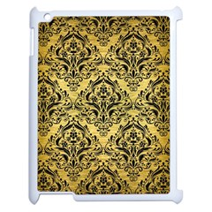 Damask1 Black Marble & Gold Brushed Metal (r) Apple Ipad 2 Case (white) by trendistuff