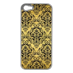 Damask1 Black Marble & Gold Brushed Metal (r) Apple Iphone 5 Case (silver) by trendistuff