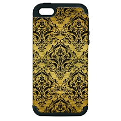 Damask1 Black Marble & Gold Brushed Metal (r) Apple Iphone 5 Hardshell Case (pc+silicone) by trendistuff