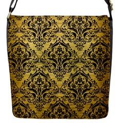 Damask1 Black Marble & Gold Brushed Metal (r) Flap Closure Messenger Bag (s) by trendistuff