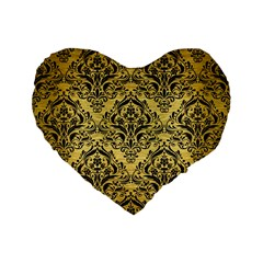 Damask1 Black Marble & Gold Brushed Metal (r) Standard 16  Premium Flano Heart Shape Cushion  by trendistuff