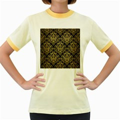 Damask1 Black Marble & Gold Brushed Metal Women s Fitted Ringer T Shirt by trendistuff