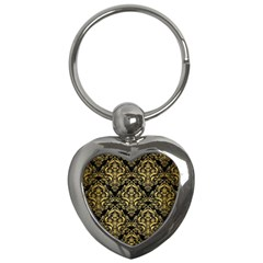 Damask1 Black Marble & Gold Brushed Metal Key Chain (heart) by trendistuff