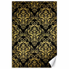 Damask1 Black Marble & Gold Brushed Metal Canvas 20  X 30  by trendistuff