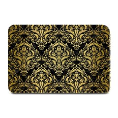 Damask1 Black Marble & Gold Brushed Metal Plate Mat by trendistuff