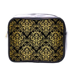 Damask1 Black Marble & Gold Brushed Metal Mini Toiletries Bag (one Side) by trendistuff