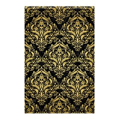Damask1 Black Marble & Gold Brushed Metal Shower Curtain 48  X 72  (small) by trendistuff