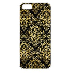 Damask1 Black Marble & Gold Brushed Metal Apple Iphone 5 Seamless Case (white) by trendistuff