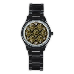 Damask1 Black Marble & Gold Brushed Metal Stainless Steel Round Watch by trendistuff